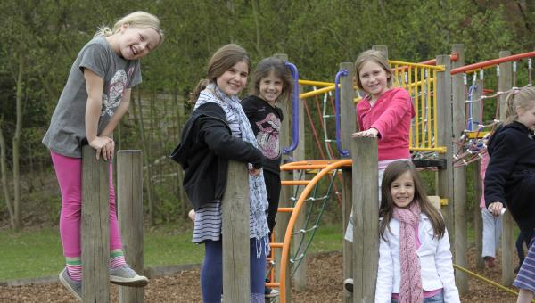lower school playing in the park