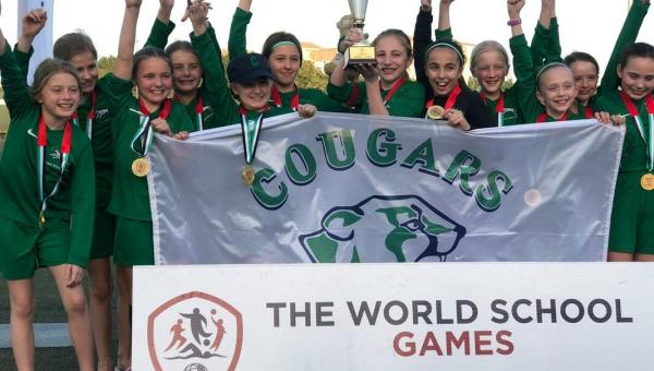 Girls football team winning the world school games