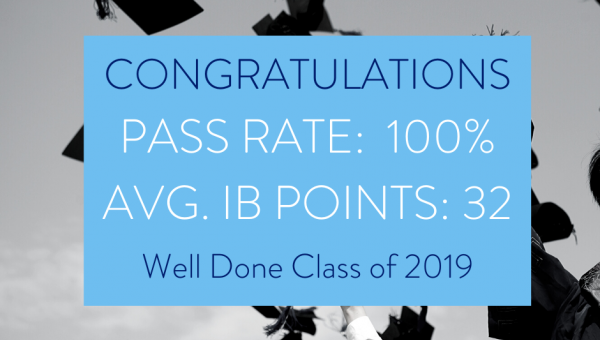 Average IB points 32 and 100% pass rate for class of 2019