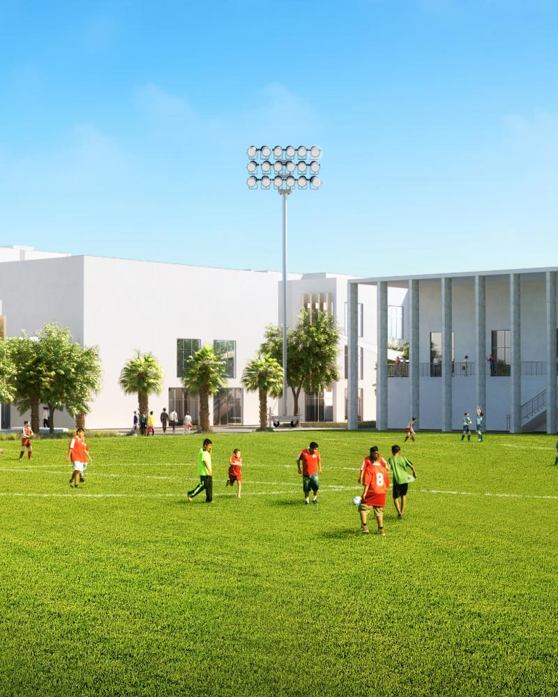 Artist's impression of the new football pitch at ACS Doha new campus