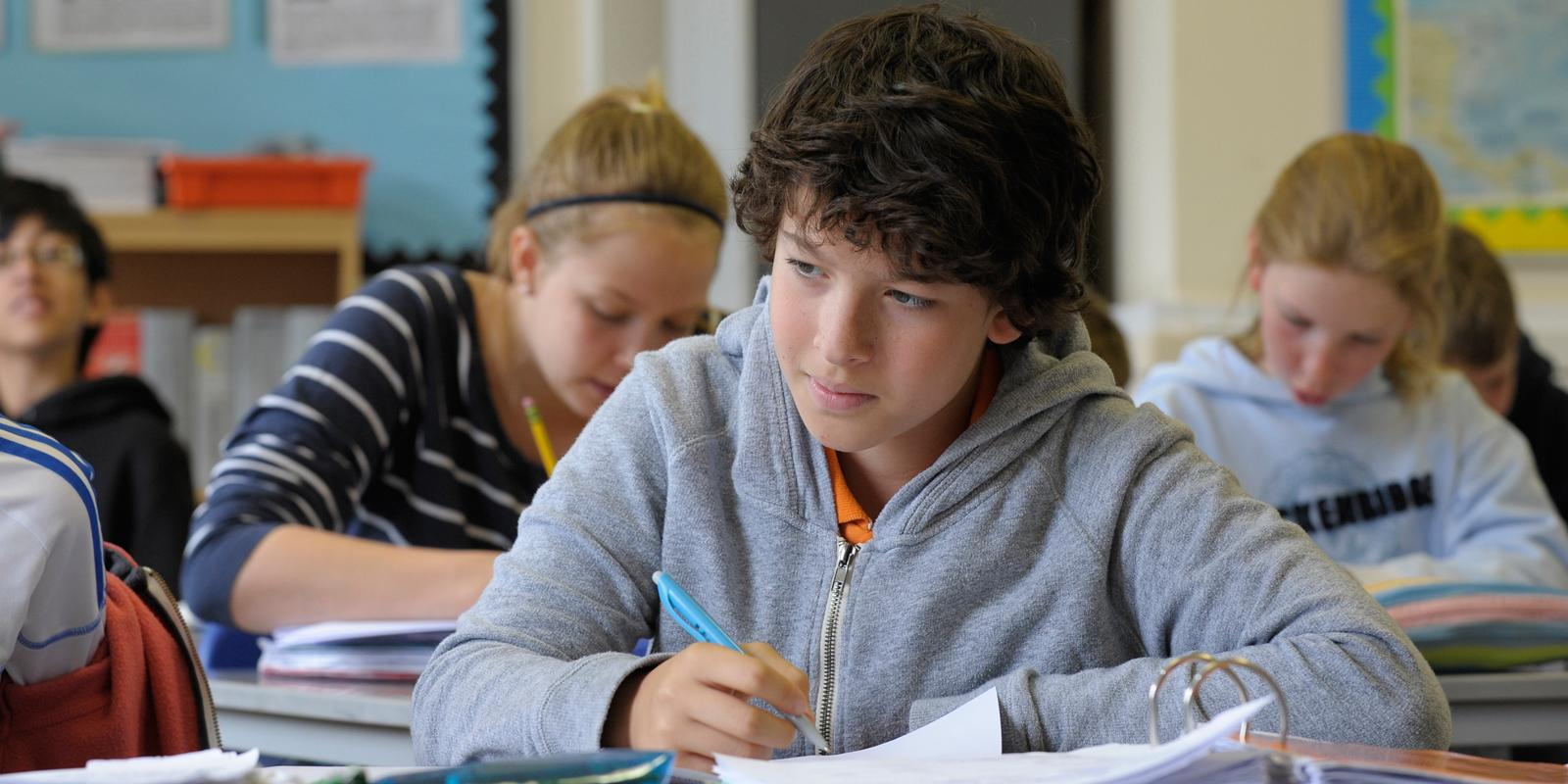 Egham student studying in classroom