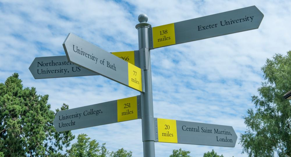 Image of signposts pointing in the direction of various different university locations