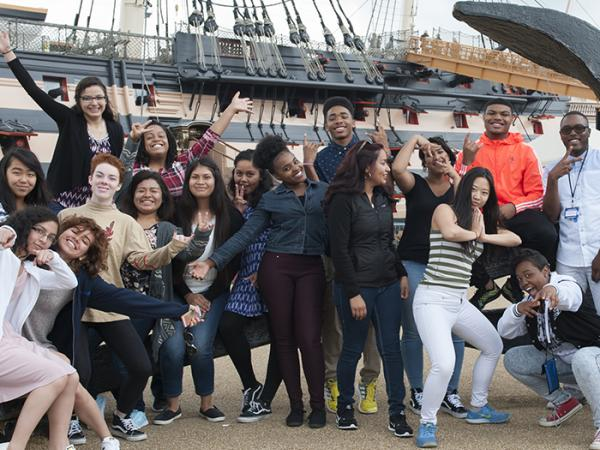 Students visiting the Cutty Sark