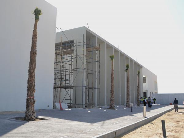 Exterior of the new ACS Doha campus in Qatar with palm trees