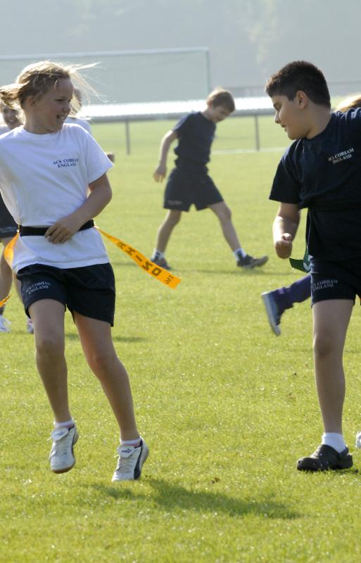 students playing tag
